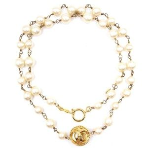 CHANEL Pearls CC Sphere Cut out Necklace